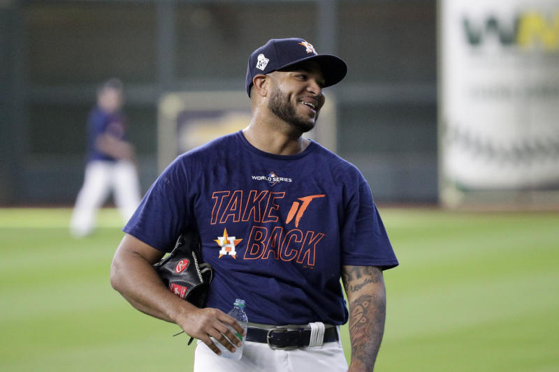 Houston Astros relief pitcher Josh James smiles during a practice day for baseball's World Series Monday, Oct. 21, 2019, in Houston. The Houston Astros face the Washington Nationals in Game 1 on Tuesday. (AP Photo/Eric Gay)