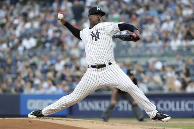 New York Yankees' Luis Severino delivers a pitch during the first inning of a baseball game against the Los Angeles Angels Friday, May 25, 2018, in New York. (AP Photo/Frank Franklin II)
