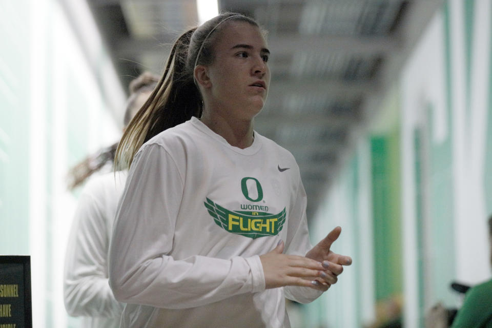 Oregon Ducks guard Sabrina Ionescu (20) walks out of the tunnel prior to the game against the Oregon State Beavers at Matthew Knight Arena. Mandatory Credit: Soobum Im-USA TODAY Sports