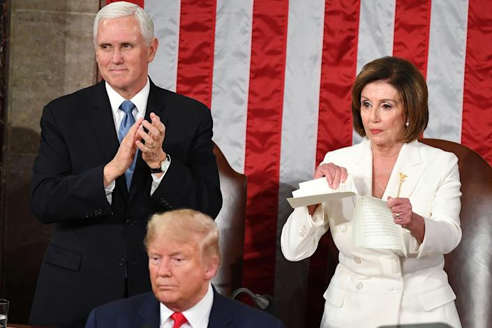 <p>Nancy Pelosi tears up Donald Trump's State of the Union speech in 2020</p> (Getty Images)