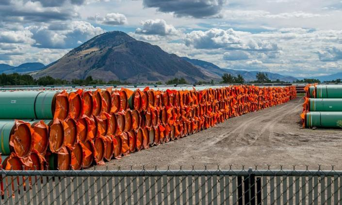 Steel pipe for Canadian government's Trans Mountain expansion project a stockpile site in Kamloops, British Columbia, in June 2019.