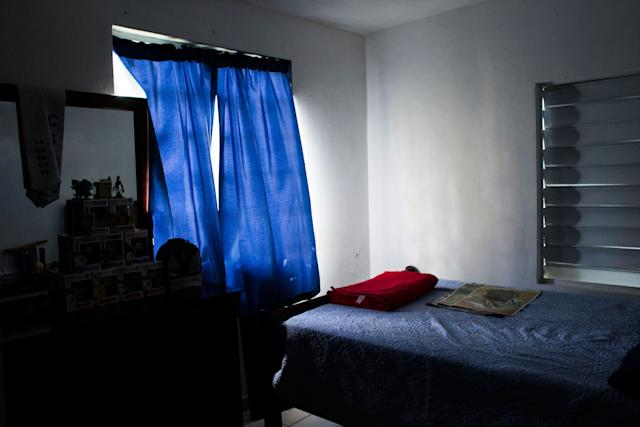 The empty room of Jeancarlo Ruiz Núñez's younger brother, Jan Miguel, at their home in Lares.