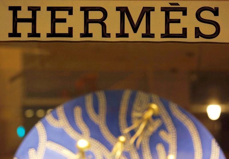 FILE PHOTO: The Hermes sign is pictured outside theshop in Bordeaux, France, November 28, 2017. REUTERS/Regis Duvignau