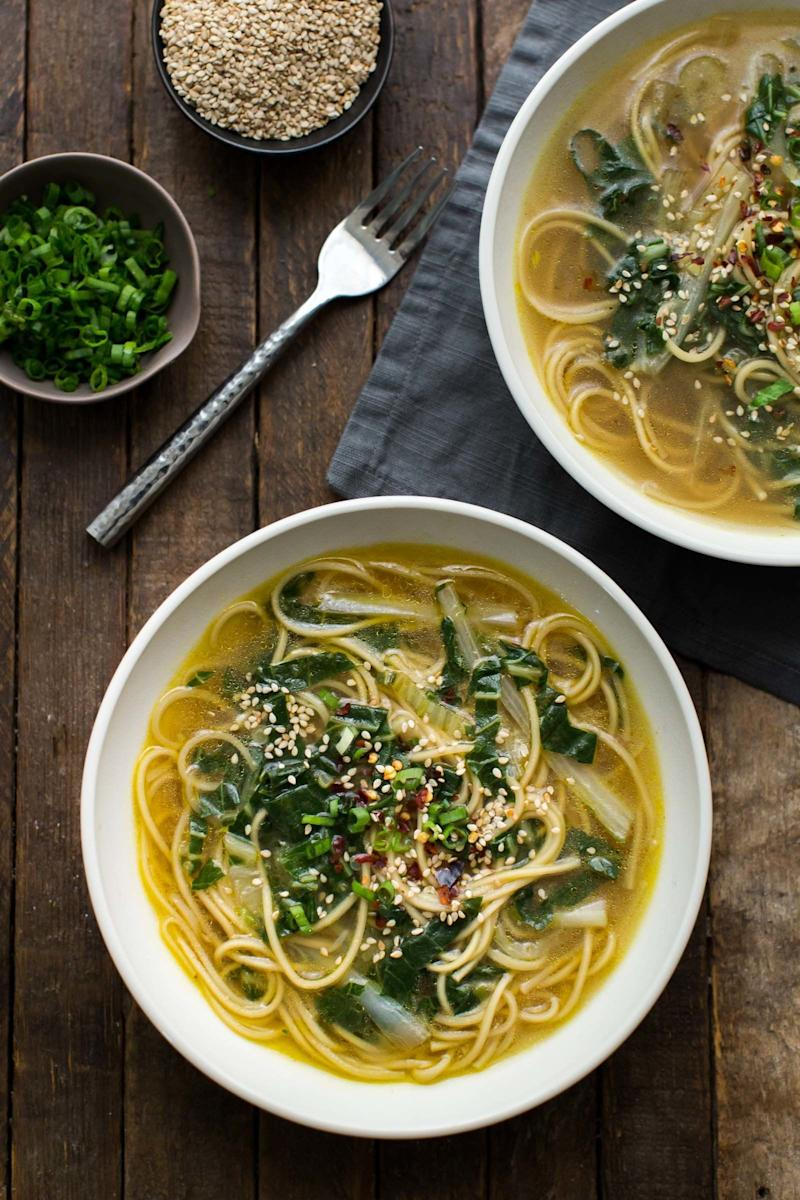 """<strong>Get the <a href=""""https://naturallyella.com/ginger-bok-choy-soup-with-noodles/"""" target=""""_blank"""">Ginger Bok Choy Soup With Noodles recipe</a>&nbsp;from Naturally Ella</strong>"""