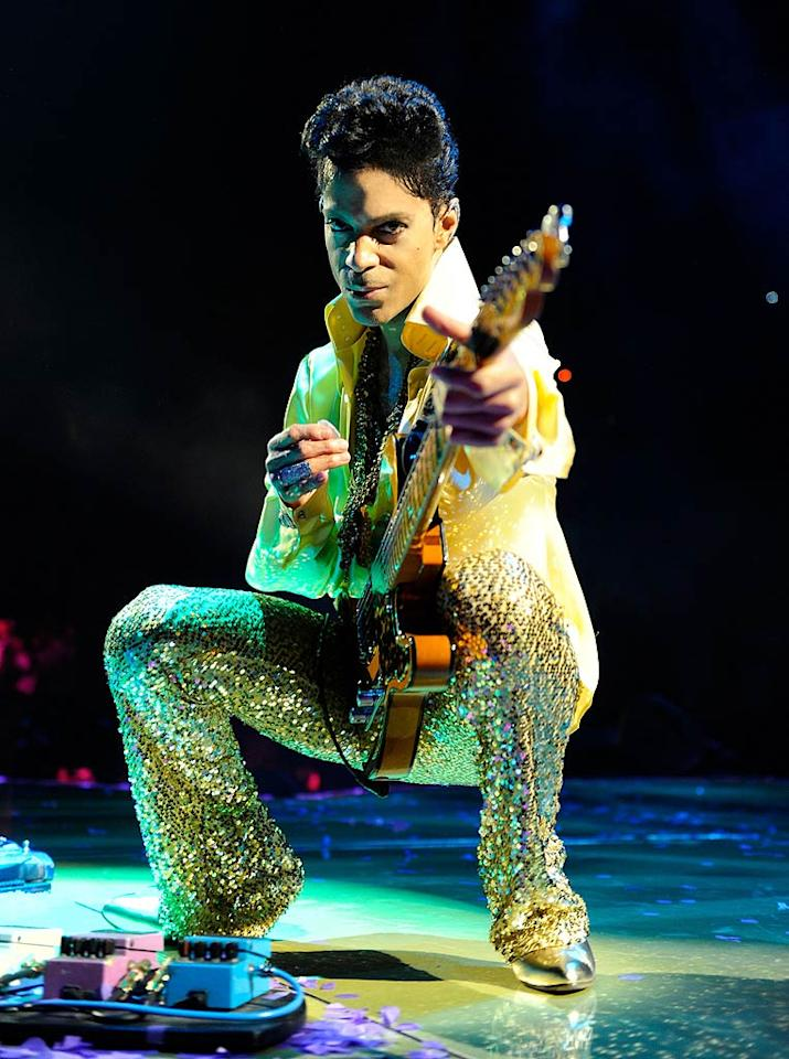 """The 52-year-old singer performed his hits, duetted with surprise guest Sheila E., and performed five encores! Even though half the audience thought the concert was over when the lights came up, Prince reportedly returned to the stage 15 minutes later and gave the crowd 11 more tunes! Kevin Mazur/<a href=""""http://www.wireimage.com"""" target=""""new"""">WireImage.com</a> - April 14, 2011"""