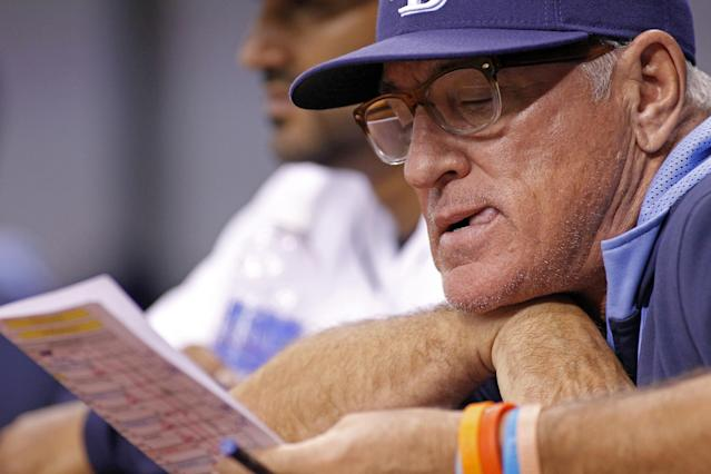 ST. PETERSBURG, FL - MAY 20: Manager Joe Maddon #70 of the Tampa Bay Rays looks over the lineup in the dugout during the eighth inning of a game against the Oakland Athletics on May 20, 2014 at Tropicana Field in St. Petersburg, Florida. (Photo by Brian Blanco/Getty Images)