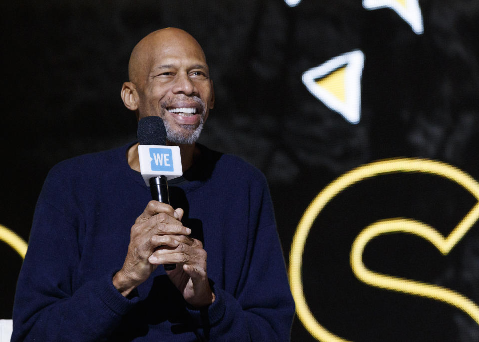 Kareem Abdul-Jabbar speaks on stage during 'WE Day Vancouver' at Rogers Arena on November 19, 2019 in Vancouver, Canada. (Photo by Andrew Chin/Getty Images)