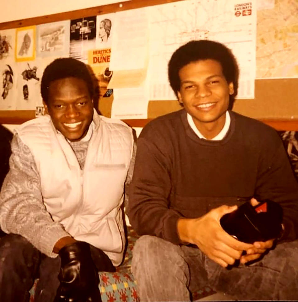 In this photo taken in 1986 Dr. Amged El-Hawrani, right, and Dr. Simba Matondo smile as they pose for a photo in one of the Polytechnic of North London halls of residence. During a pandemic, heroes wear scrubs. Amged El-Hawrani was one of them, a doctor who went to work every day as the coronavirus transfused England even though he knew he risked his own life. The 55-year-old died on March 28, becoming one of the first doctors in Britain's National Health Service to perish after treating virus patients and a symbol of the danger health workers brave. (Photo via AP)