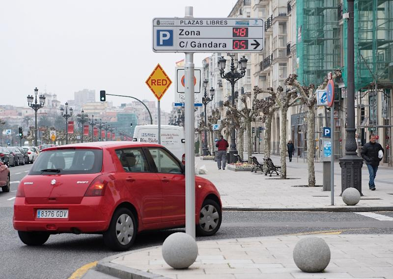 A digital panel informs motorists of available parking spaces in Santander