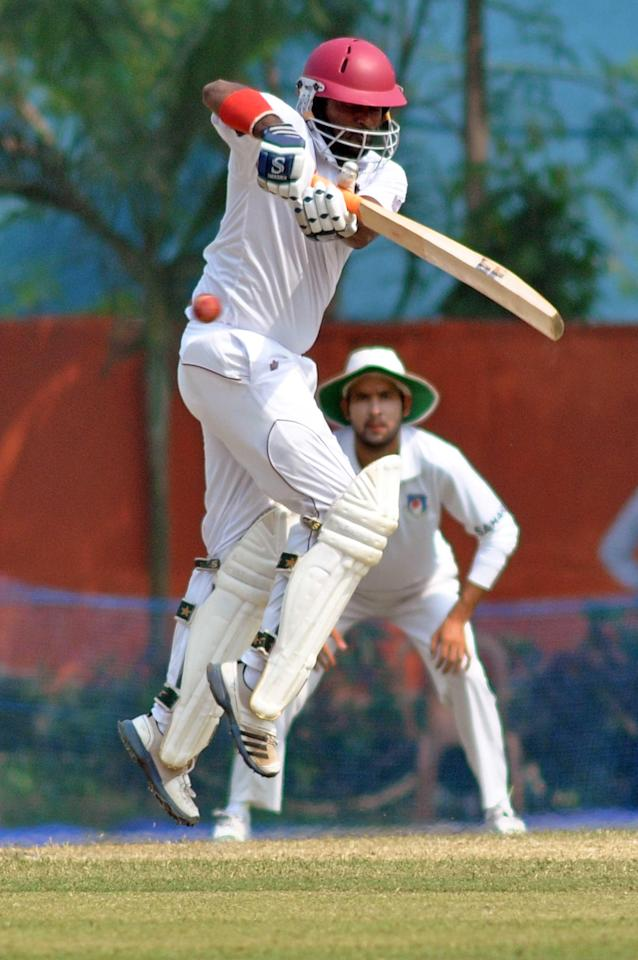 West Indies player N Deonarine in action during Day 2 of practice match between West Indies and Uttar Pradesh Cricket Association XI at the Jadavpur University Ground in Kolkata on Nov.1 2013. (Photo: IANS)