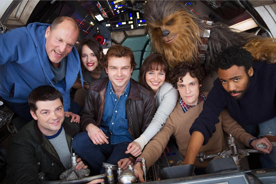The cast of 'Solo: A Star Wars Story' with original directors Phil Lord and Christopher Miller (credit: Lucasfilm)