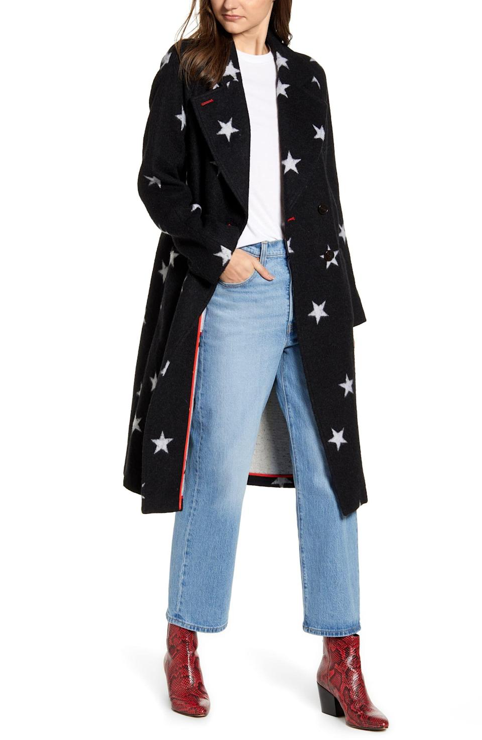 """<p><strong>AVEC LES FILLES</strong></p><p>nordstrom.com</p><p><strong>$189.90</strong></p><p><a href=""""https://go.redirectingat.com?id=74968X1596630&url=https%3A%2F%2Fshop.nordstrom.com%2Fs%2Favec-les-filles-star-double-face-trench-coat%2F5272082&sref=http%3A%2F%2Fwww.cosmopolitan.com%2Fstyle-beauty%2Ffashion%2Fg30057282%2Fshop-nordstrom-black-friday-cyber-monday-sale-2019%2F"""" rel=""""nofollow noopener"""" target=""""_blank"""" data-ylk=""""slk:Shop Now"""" class=""""link rapid-noclick-resp"""">Shop Now</a></p><p>While everyone is rocking teddy coats this winter, you'll definitely stand out in a star-printed trench coat that has hidden pockets and contrast lining. </p>"""