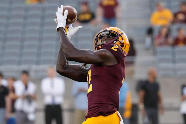 Arizona State WR Brandon Aiyuk would add a dose of speed to an Eagles offense that needs some. (Photo by Kevin Abele/Icon Sportswire via Getty Images)