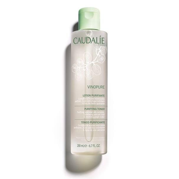 """<p>The French do a lot of things better than most, but Caudalie's Vinopure Toner might be one of our favorites. For people with acneic skin, the star ingredient in <product href=""""https://www.sephora.com/product/vinopure-natural-salicylic-acid-pore-minimizing-toner-P433625"""" target=""""_blank"""" class=""""ga-track"""" data-ga-category=""""internal click"""" data-ga-label=""""https://www.sephora.com/product/vinopure-natural-salicylic-acid-pore-minimizing-toner-P433625"""" data-ga-action=""""body text link"""">Caudalie Vinopure Natural Salicylic Acid Pore Minimizing Toner</product> ($28) helps gently fight off the first signs of a blemish, keeps oil at bay, <em>and</em> serves as the perfect postcleanse step right before makeup.</p>"""