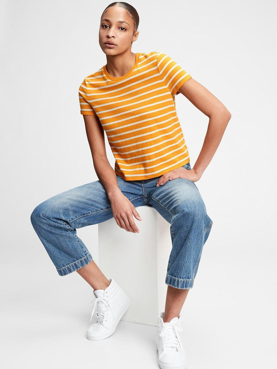 <p>Petite ladies! This <span>Gap Shrunken T-Shirt</span> ($20, originally $30) has a cropped fit that looks great with high-rise jeans!</p>