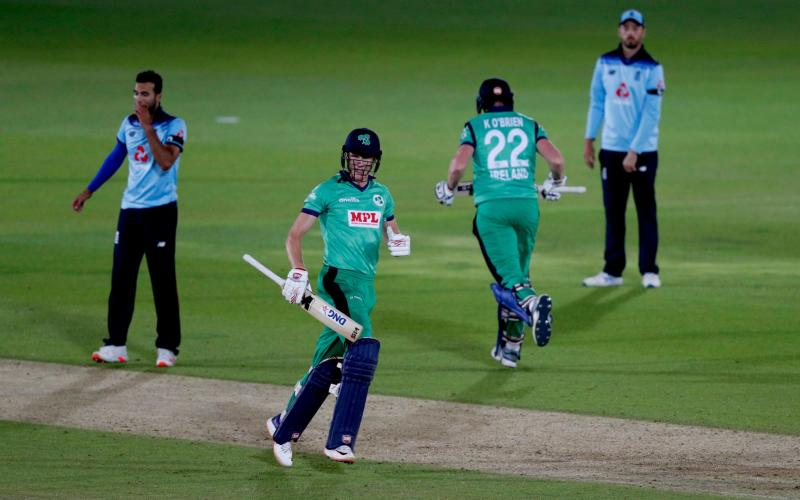 Ireland's Harry Tector (second left) and team-mate Kevin O'Brien secure runs to win the third One Day International match at the Ageas Bowl, Southampton -Ireland's ODI heroes forced to self-isolate for two weeks on return from England - PA