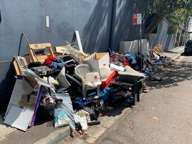 There are concerns the rubbish pile could attract vermin. Source: Riley Morgan