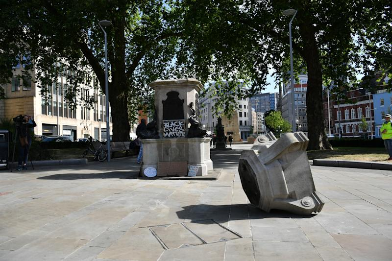 The empty plinth where the statue of Edward Colston in Bristol once stood after it was taken down during a Black Lives Matter protest on Sunday. The protests were sparked by the death of George Floyd, who was killed on May 25 while in police custody in the US city of Minneapolis.