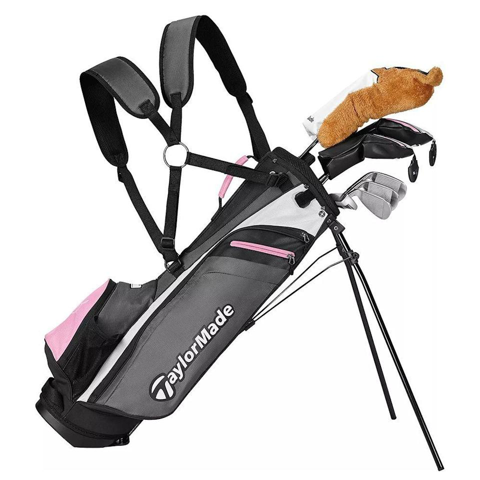 """<p><strong>TaylorMade</strong></p><p>dickssportinggoods.com</p><p><strong>$399.99</strong></p><p><a href=""""https://go.redirectingat.com?id=74968X1596630&url=https%3A%2F%2Fwww.dickssportinggoods.com%2Fp%2Ftaylormade-rory-junior-11-piece-complete-set-height-52-60-18tymyrryjrk508pcset%2F18tymyrryjrk508pcset&sref=https%3A%2F%2Fwww.bestproducts.com%2Fparenting%2Fg36341122%2Fkids-golf-clubs%2F"""" rel=""""nofollow noopener"""" target=""""_blank"""" data-ylk=""""slk:Shop Now"""" class=""""link rapid-noclick-resp"""">Shop Now</a></p><p><em><strong>Ages: 8 and up</strong></em></p><p>If your child is really serious about golf, and wants to play for school, perhaps even junior varsity, this high-quality set from TaylorMade is one to consider. Designed for kids from 52 to 60 inches tall, this set comes with a driver, a 3-wood, a 7-iron, a 5-rescue, a sand wedge, a putter, head covers, and a bag, all made of the highest-quality materials, like titanium and graphite. </p>"""