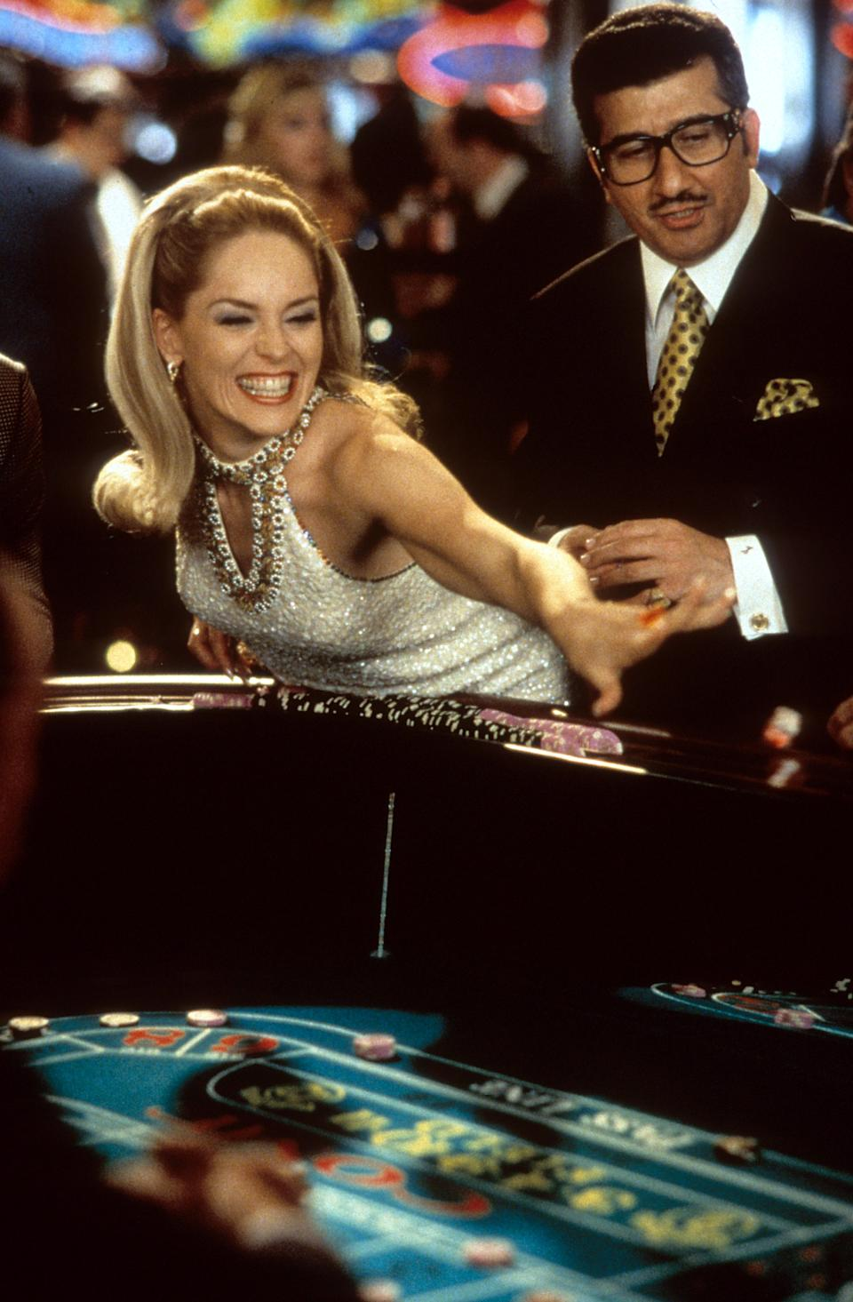 Sharon Stone having fun gambling in a scene from the film 'Casino', 1995. (Photo by Universal Pictures/Getty Images)