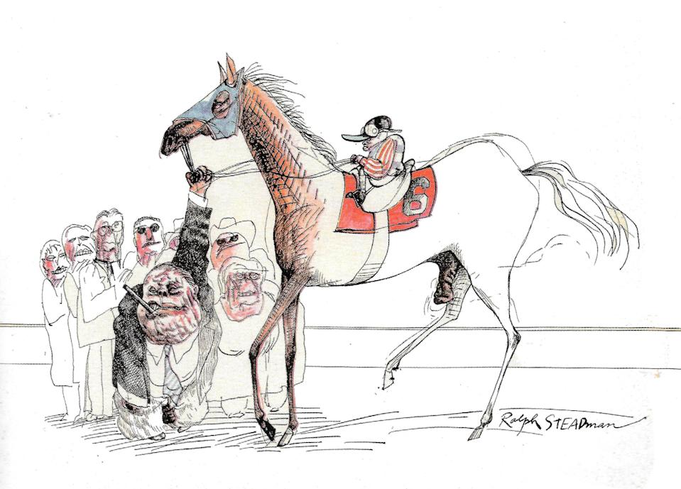 """<div class=""""caption""""> Ralph Steadman's """"The Kentucky Derby is Decadent and Depraved"""" (1970) </div> <cite class=""""credit"""">Courtesy of Speed Art Museum</cite>"""