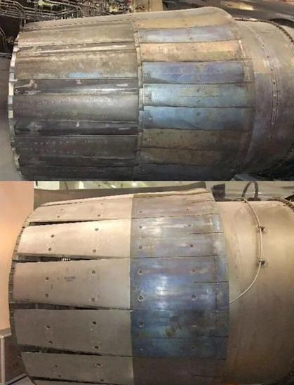 Top: The Russian AL-31F engine. Bottom: The Chinese WS-10C engine. Photo: Weibo