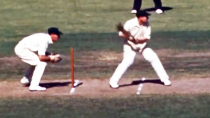 The colour footage, pictured here showing Don Bradman in action at the SCG in 1949.