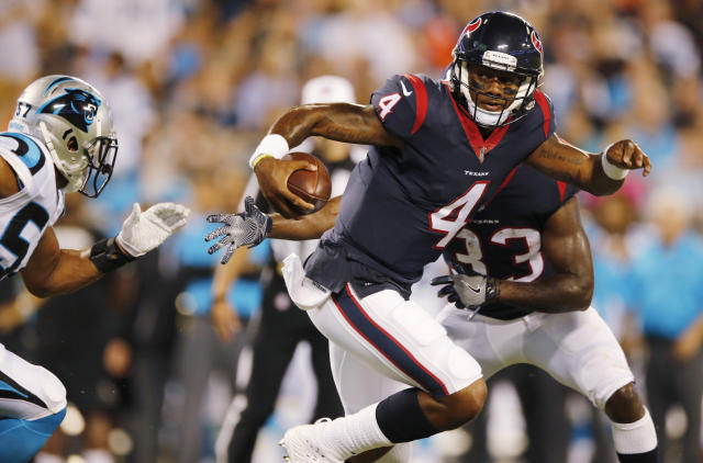 """Houston Texans quarterback Deshaun Watson promised to return from an ACL injury stronger """"than ever before."""" (AP)"""