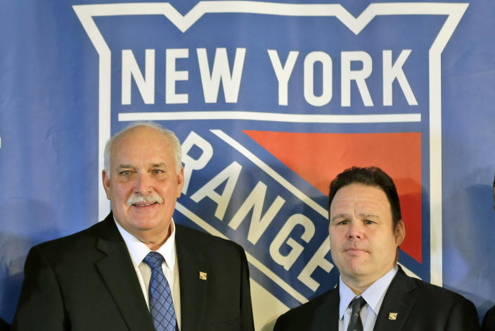 FILE - John Davidson, left, president of the New York Rangers, and Rangers general manager Jeff Gorton pose at a news conference in New York, in this Wednesday, May 22, 2019, file photo. The New York Rangers abruptly fired president John Davidson and general manager Jeff Gorton on Wednesday, May 5, 2021 with three games left in the season. Chris Drury was named president and GM. He previously served as associate GM under Davidson and Gorton. (AP Photo/Seth Wenig, File)