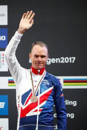 Cycling - UCI Road World Championships - Men Elite Individual Time Trial - Bergen, Norway - September 20, 2017 - Bronze medalist Chris Froome of Britain reacts on the podium. NTB Scanpix/Cornelius Poppe via REUTERS