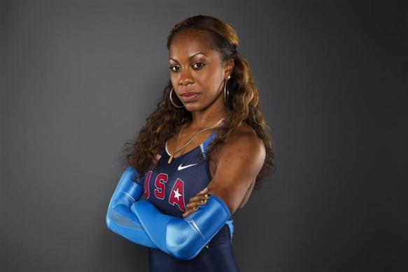 Sprinter Sanya Richards-Ross poses for a portrait during the 2012 U.S. Olympic Team Media Summit in Dallas, May 13, 2012.