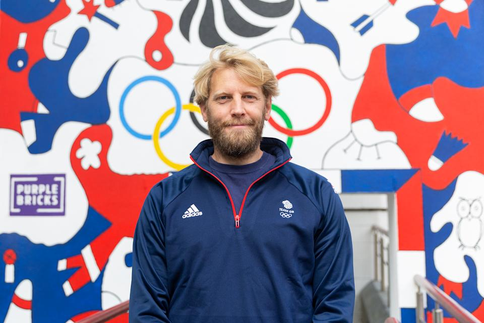 Triple Olympic champion Andrew Triggs Hodge at the unveiling of a specially commissioned mural, one of 10 unique walls of art that will be appearing across the country to inspire home support for Team GB at games this summer, courtesy of Purplebricks home support campaign.