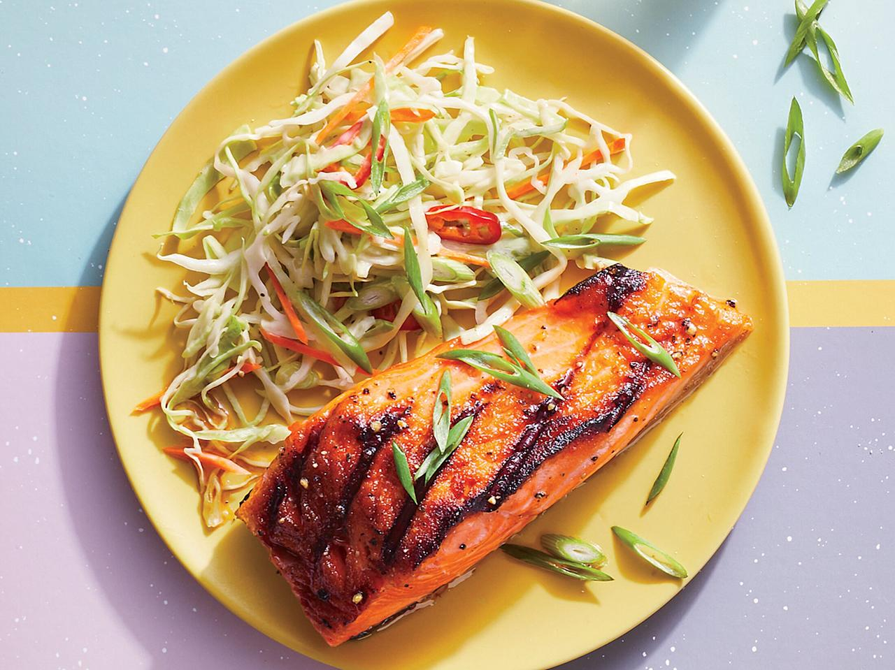 """<p>This recipe hits all the notes of a classic barbecue dish, but with omega-3-rich fish. Use an outdoor grill or indoor grill pan.</p> <p> <a href=""""https://www.cookinglight.com/recipes/bourbon-glazed-salmon-with-firecracker-slaw"""">View Recipe: Bourbon-Glazed Salmon With Firecracker Slaw</a></p>"""