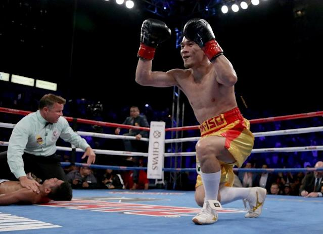 Thailand's Srisaket Sor Rungvisai hopes to celebrate another win Friday in a rematch against Mexico's Juan Francisco Estrada (AFP Photo/JEFF GROSS)