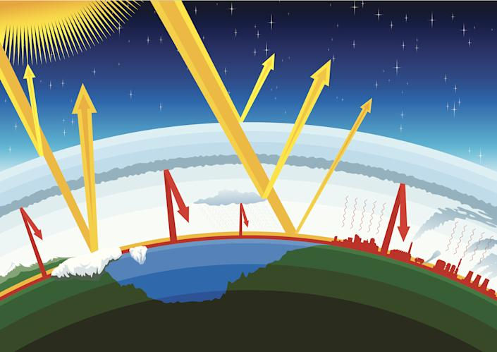 Simple Vector illustration of Greenhouse Effect on Earth.