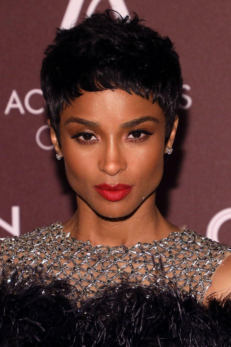 <p>Or, just go ahead and get the tiny bangs of your dreams while the rest of your hair is ultra short. The style is seen here on Ciara.</p>