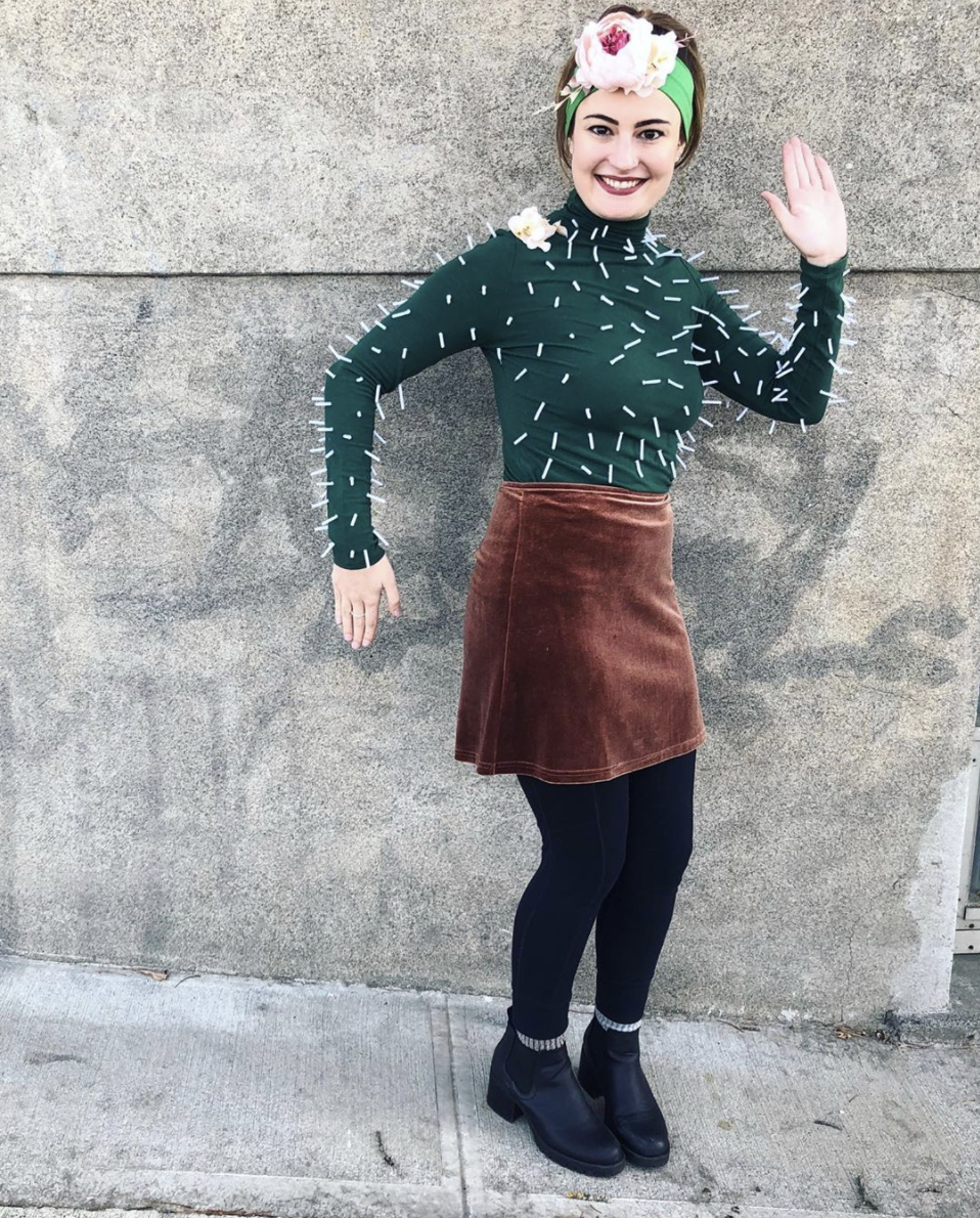 """<p>Who would ever guess something so prickly could be so cute? All you need to create this look is a green shirt and some white pipe cleaners. Bonus points for donning a floral headband, too. </p><p><a class=""""link rapid-noclick-resp"""" href=""""https://www.instagram.com/p/B4TCTs2FeZK/"""" rel=""""nofollow noopener"""" target=""""_blank"""" data-ylk=""""slk:SEE MORE"""">SEE MORE</a></p><p><a class=""""link rapid-noclick-resp"""" href=""""https://www.amazon.com/Creativity-Street-Chenille-Cleaners-100-Piece/dp/B0009XSKBO/?tag=syn-yahoo-20&ascsubtag=%5Bartid%7C10072.g.33547559%5Bsrc%7Cyahoo-us"""" rel=""""nofollow noopener"""" target=""""_blank"""" data-ylk=""""slk:SHOP PIPE CLEANERS"""">SHOP PIPE CLEANERS</a></p>"""