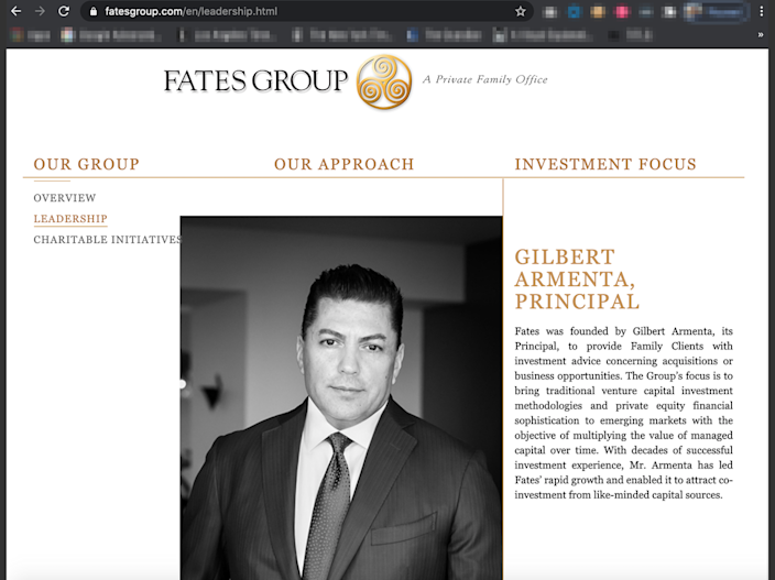 A screenshot from the website of Gilbert Armenta's firm Fates Group, one of the Fort Lauderdale companies at the center of the money-laundering charges. According to court testimony, Armenta was one of OneCoin founder Ruja Ignatova's chief money launderers.