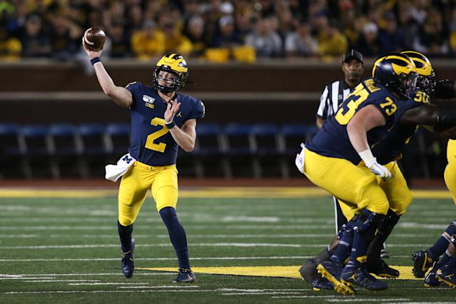 Michigan QB Shea Patterson could have played better in the opener against Middle Tennessee State. (Getty Images)