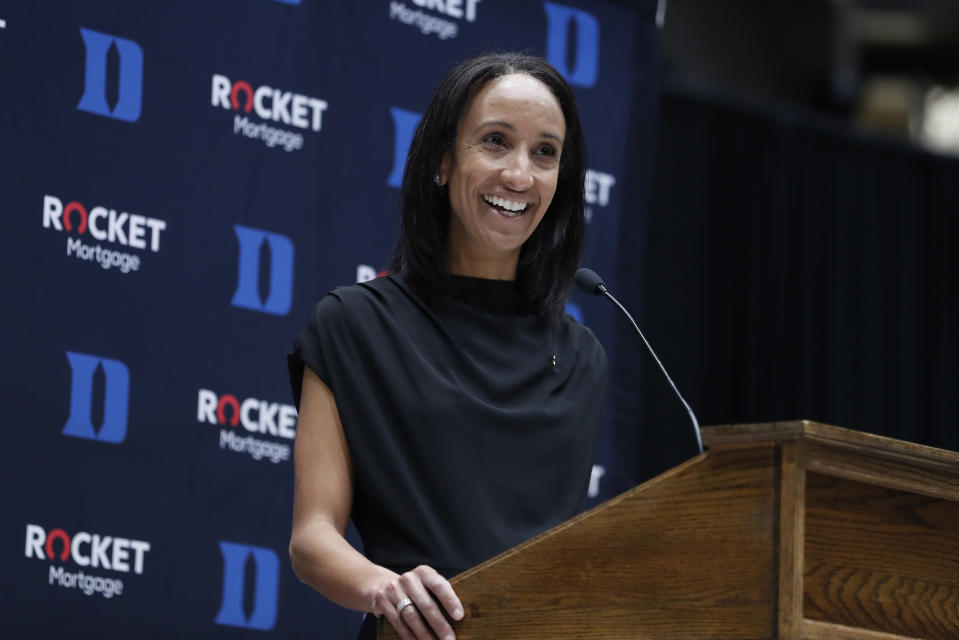 Nina King speaks during a press conference where she was introduced as Duke's new athletic director, Friday, May 21, 2021, at Cameron Indoor Stadium in Durham, N.C. (Ethan Hyman/The News & Observer via AP)