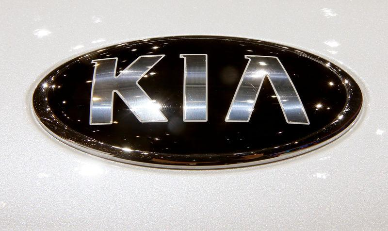 The logo of Kia is seen during the 87th International Motor Show at Palexpo in Geneva