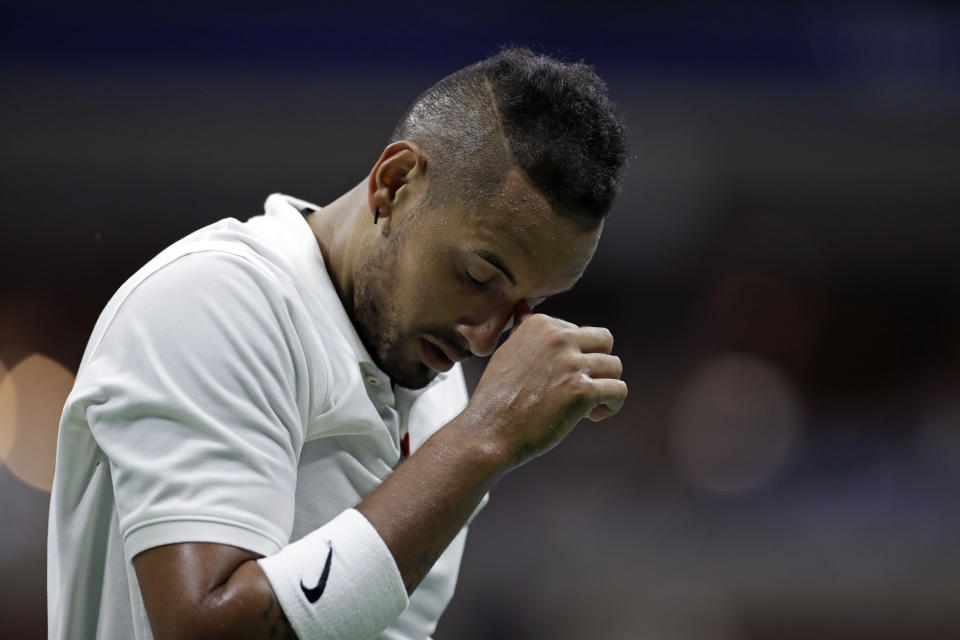 Nick Kyrgios, of Australia, reacts after losing a point to Andrey Rublev, of Russia, during the third round of the U.S. Open tennis tournament Saturday, Aug. 31, 2019, in New York. (AP Photo/Adam Hunger)