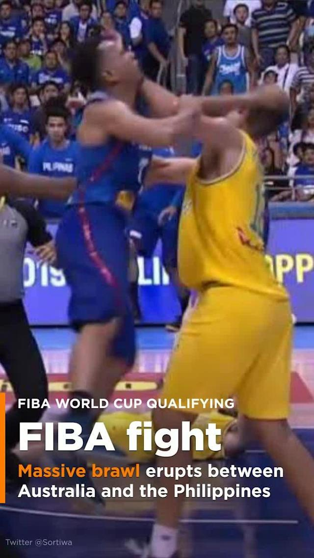 A FIBA World Cup Asian Qualifiers game between the Philippines and Australia came to a shocking and terrifying conclusion midway through the third quarter when a bench-clearing brawl broke out, resulting in the ejection of 13 players.