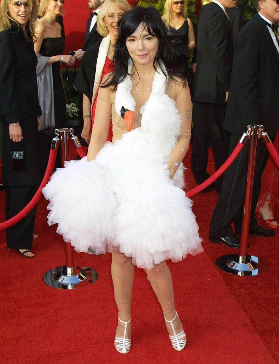 <p>The fashion statement heard 'round the world! Björk created one of the most iconic fashion moments in Oscar history when she wore a sheer, bedazzled bodysuit and white tulle swan dress on the red carpet. </p>