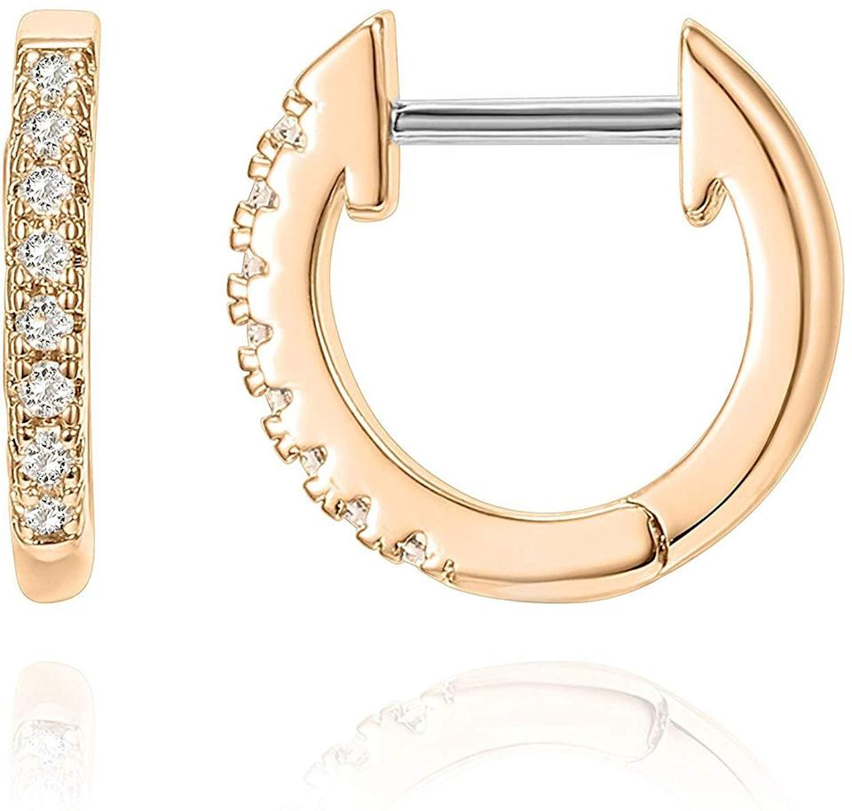 <p>These <span>Pavoi 14K Rose-Gold-Plated Huggie Earrings</span> ($14) are a bestseller.</p>