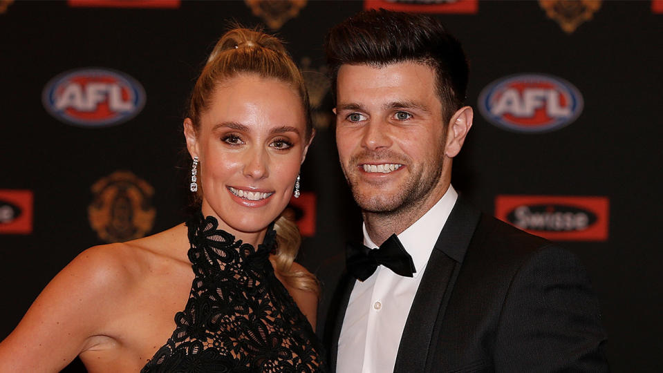 Trent Cotchin (R) of Richmond and his wife Brooke Cotchin arrive ahead of the 2016 Brownlow Medal. (Photo by Daniel Pockett/Getty Images)