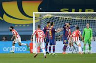 Athletic Bilbao's Asier Villalibre (L) celebrates his goal during the Spanish Super Cup final