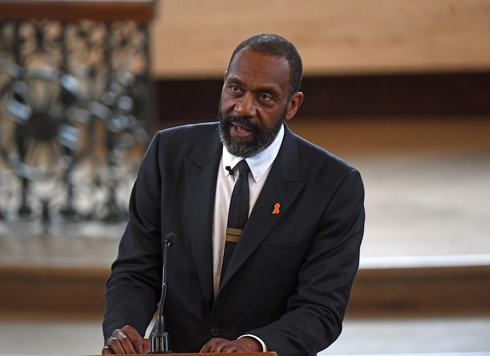 Sir Lenny Henry speaking during a memorial service at St Martin-in-the-Fields in Trafalgar Square, London, to commemorate the 25th anniversary of the murder of Stephen Lawrence.