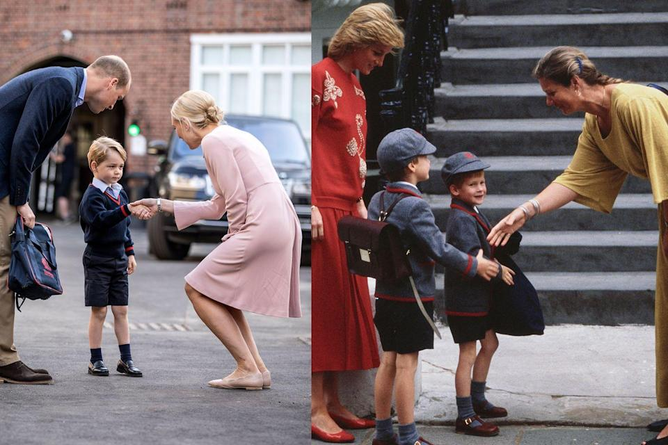 """<p>The first day of school is a momentous affair for any kid, and <a href=""""https://www.townandcountrymag.com/society/tradition/g14783349/royal-family-first-day-of-school-photos/"""" rel=""""nofollow noopener"""" target=""""_blank"""" data-ylk=""""slk:the royals are no exception"""" class=""""link rapid-noclick-resp"""">the royals are no exception</a>. Here, Prince George shakes hands with the head of Thomas's school in Battersea, and Prince William does the same (in 1989, that is) with the head of Wetherby School in London. </p>"""