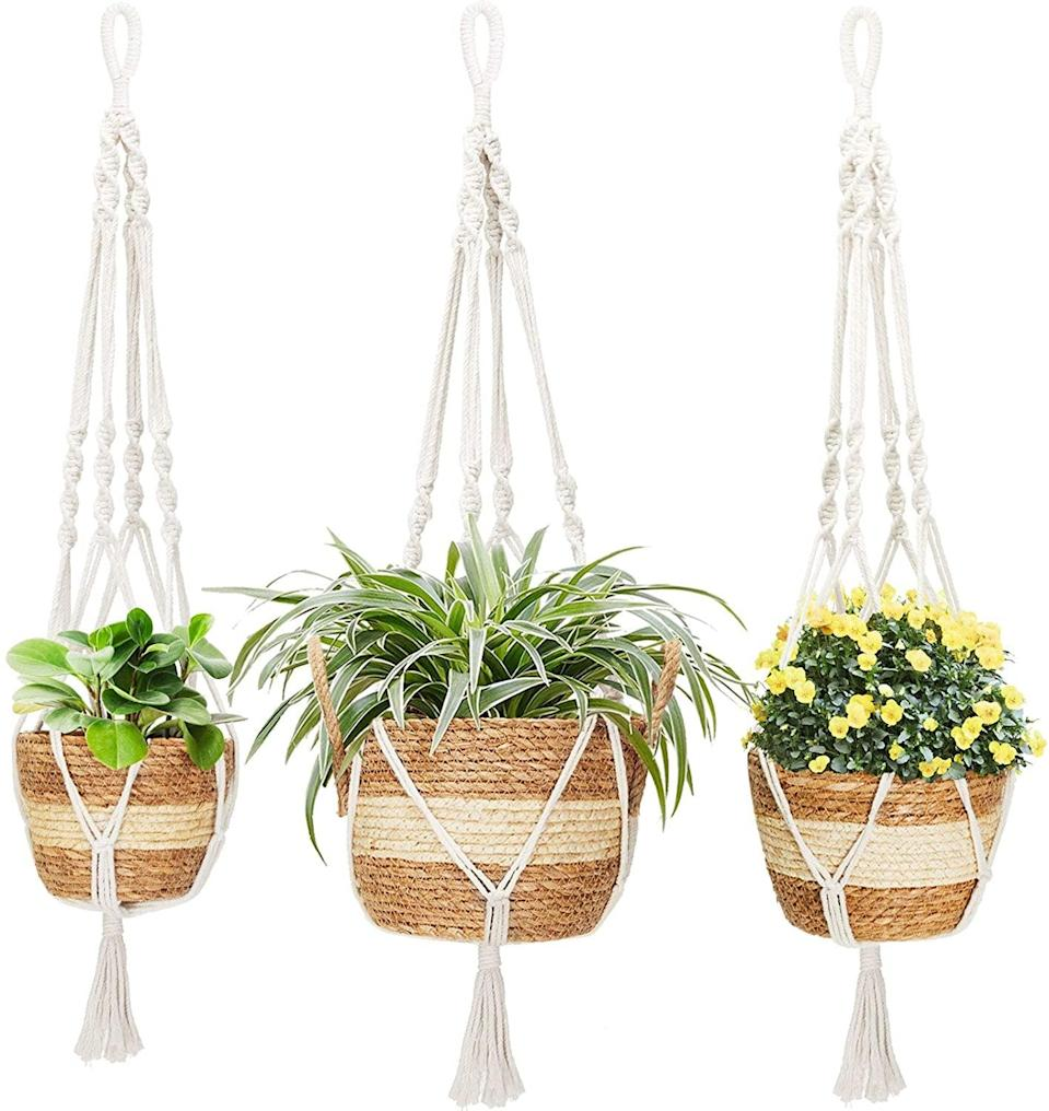 <p>These <span>Greenstell Hanging Planters with Planter Basket, Set of 3</span> ($26) are great for larger plants and florals that don't need a pot to steal the spotlight.</p>